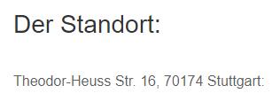 Standort in  Wangen (Stuttgart)